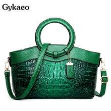 Gykaeo bolsas de luxo bolsas femininas designer crocodilo mulher bolsa couro senhoras verde festa tote sacos ombro sac a principal 2021