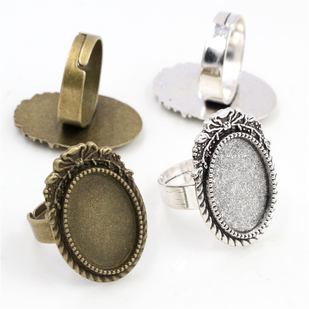 Fit 13x18mm 5pcs Bronze Antique Silver Colors Plated Oval Adjustable Ring Settings Blank/Base,Fit 13x18mm Glass Cabochons