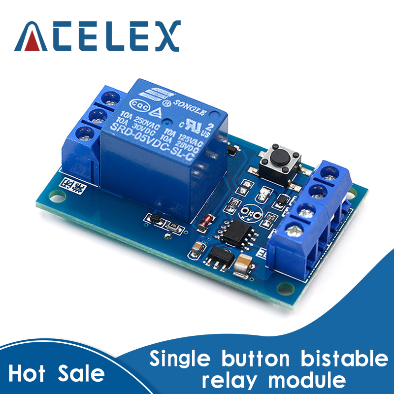 Bistable релейный модуль 5 В/12 В, однокнопочный релейный модуль, одна клавиша для модификации автомобиля, автоблокировка, переключатель модифик...