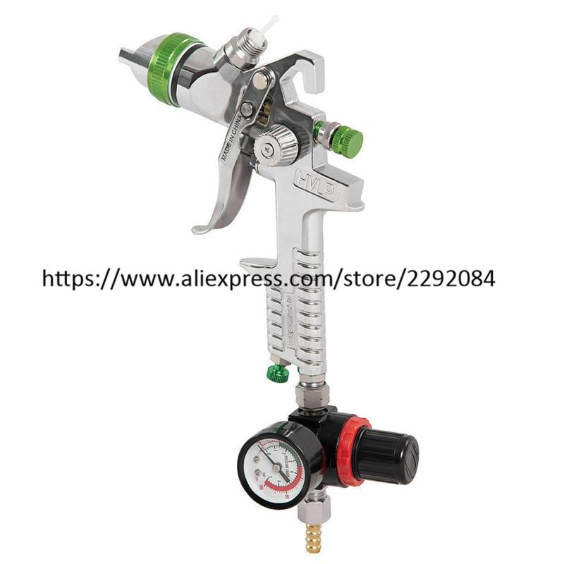 Tools : HVLP Spray Gun Gravity Feed Paint Gun Auto Paint Air Spray Gun 2 5mm Nozzle Size 1000 cc Aluminum Cup W Air Regulator