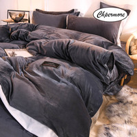 Chpermore Double sided crystal velvet Bedding set Simple Duvet cover Sets Bed Sheets pillowcases 3/4 PCS Twin Queen King Size