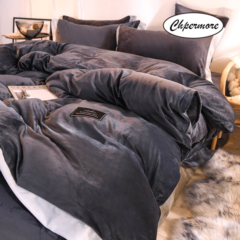 Chpermore Double-sided Crystal Velvet Bedding Set Simple Duvet Cover Sets Bed Sheets Pillowcases 3/4 PCS Twin Queen King Size