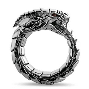 Myth Amulet Ring The Dragon of Norwegian Mythology Men Rings Steampunk Ring Dragon Ring Retro Hip Hop Personality Ring Jewelry(China)