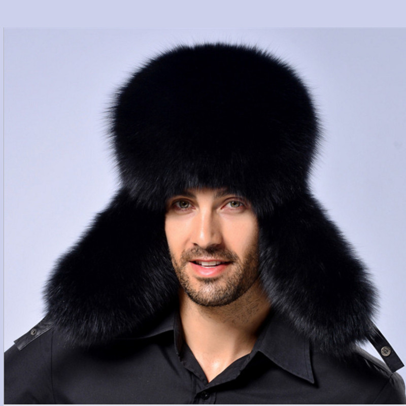 Hat Cap Earflap-Cap Bomber Solid-Hats Russian-Leather Winter Fashion Autumn for Men's