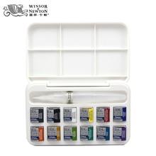 Winsor&Newton cotman solid WaterColor pigment set 12 half pans and a brush pen art supplies
