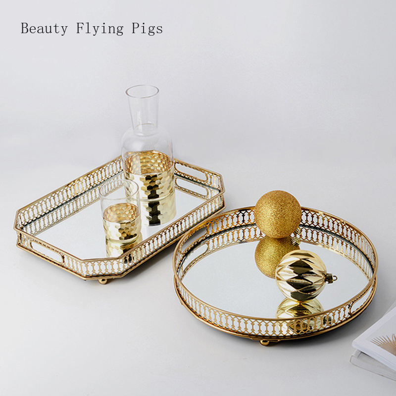 2Pcs Direct sales new wrought iron golden glass mirror bottom tray home living room light luxury decorative fruit plate