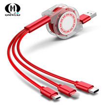 3 in1 Retractable USB Cable Type-c Charging line 100cm Coiled Data Line For iPhone&Android Fast