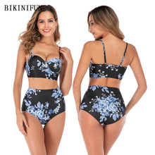 New Sexy Floral Print Bikini Women One Piece Suit High Waist Push Up Swimwear M-2XL Girl Backless Padded Bathing Suit Bikini Set 3 pieces 2017 sexy girl new plus size bikini floral print bikini set women push up swimsuit swimwear high waist bathing suit