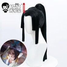 HSIU – perruque longue noire de cosplay Game King of Glory, peau Mai hiranui