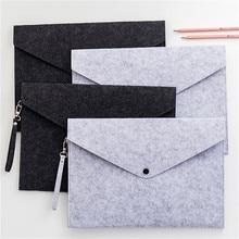Simple Solid Wool Felt A4 File Folder Big Capacity Document Bag Simple Business Briefcase