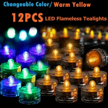 12PCS Submersible Waterproof Battery Operated LED Tea Lights Wedding Table Decor  Candle Light Birthday Party Decoration