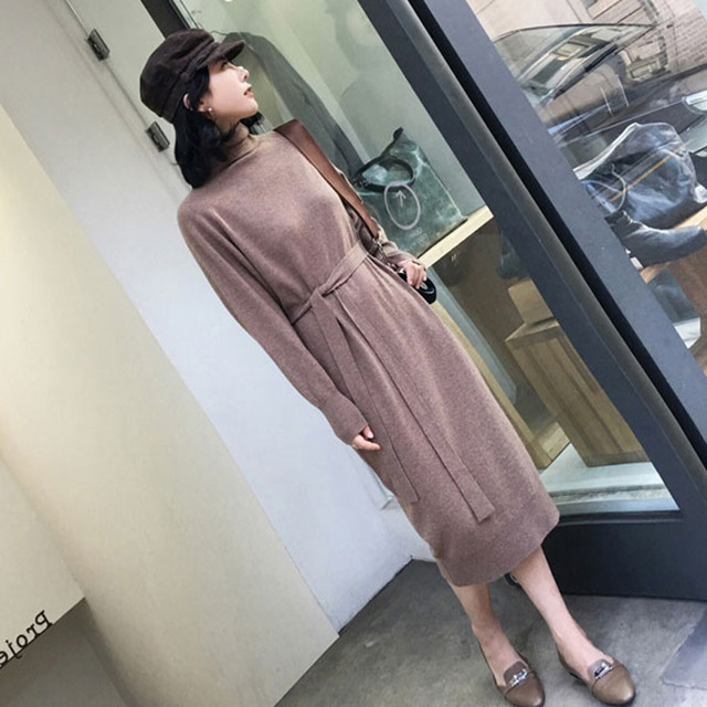 Turtleneck Full Sleeve Sashes Women Knitted Vestidos Mid-length Loose Female Knit Dress