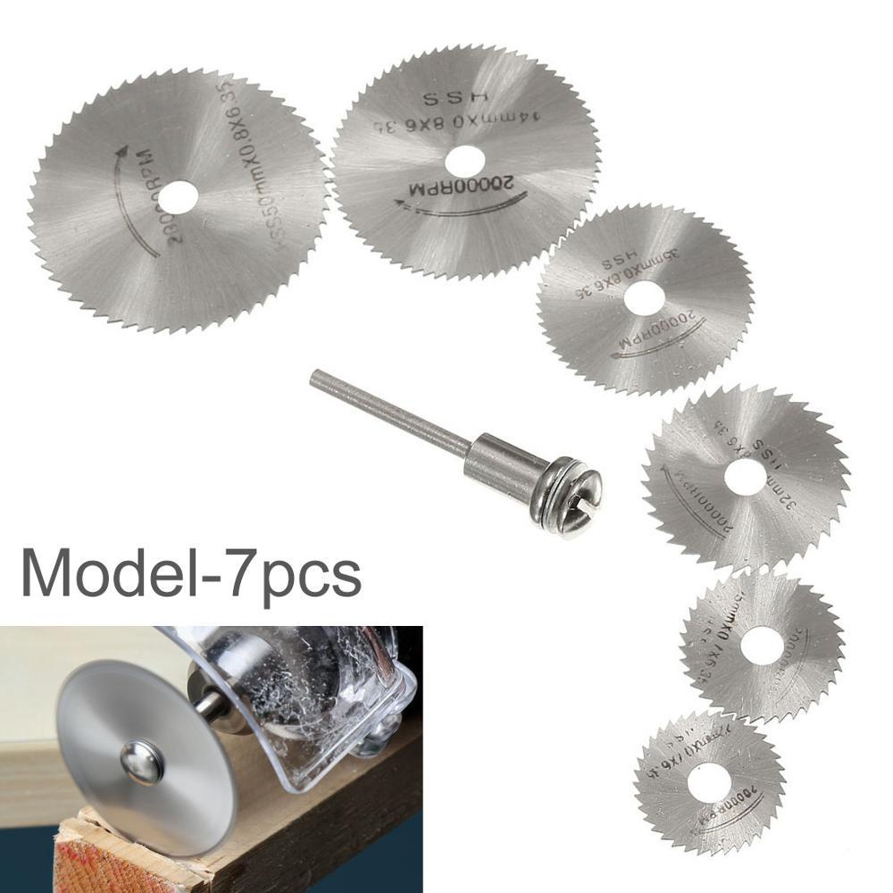 5 / 6pcs Lama per sega + 1 pz Mandrino HSS Utensile rotante 22/25/32/35 / 44mm Set di dischi per dischi circolari