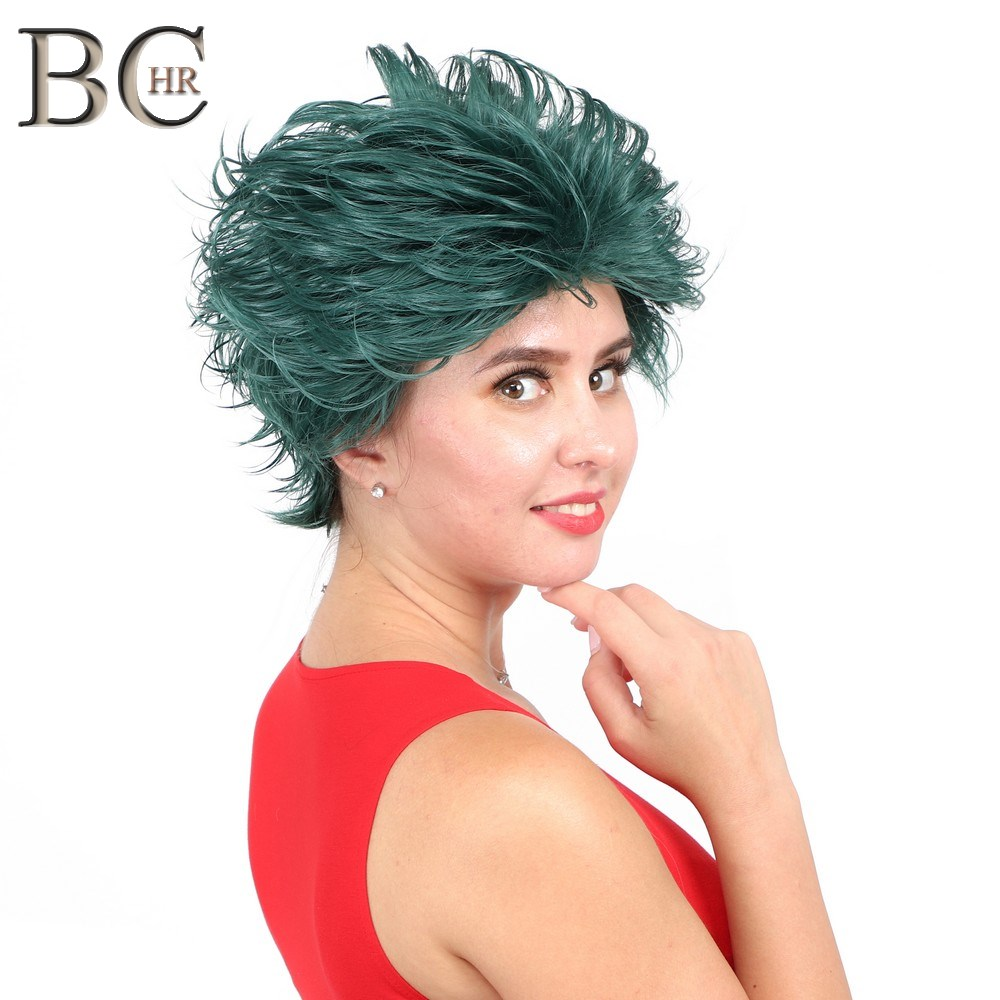 Image 4 - BCHR Short Anime Cosplay Deku Wigs Dark Green Synthetic Wig for My Boku no Hero Academia Midoriya Izuku Costume Wig-in Synthetic None-Lace  Wigs from Hair Extensions & Wigs