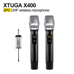 XTUGA X400 Wireless Microphone System Handheld LED Mic UHF Speaker with Portable Receiver