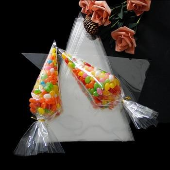 50 unids/lote DIY boda bolso caramelo favores decoración de fiesta de cumpleaños dulce celofán transparente Almacenamiento de cono con bolsas de Organza