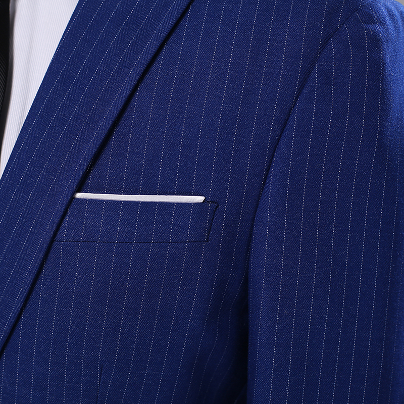 (Блейзер + брюки) костюм из двух частей мужской вертикальный полосатый тонкий Банкетный модный костюм джентльмен Повседневный пиджак в дело... - 5