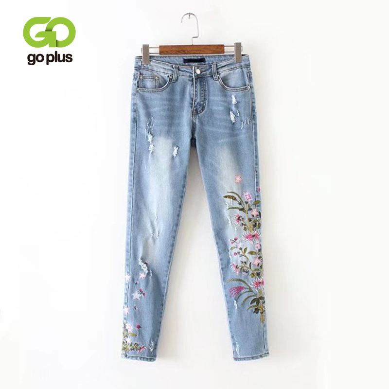 GOPLUS 2020 New Boyfriend Jeans Ripped High Waist Dense Denim Floral Embroidered Jeans For Women Plus Size Pencil Pants C6925
