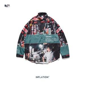Image 5 - Şişirme gevşek Fit erkek gömlek 2019 FW Harajuku dijital baskı erkekler gömlek uzun kollu Hip Hop boy erkekler gömlek Tops 92156W