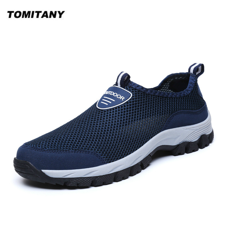 Mens Shoes Breathable Slip-On Shoes Mens Sneakers Water Loafers Summer Mesh Zapatos De Hombre Casual Walking Shoes Men 39-49