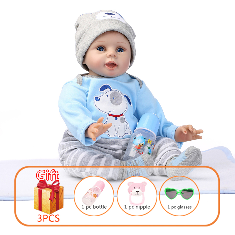 NPK 55cm Baby Silicone Dolls Silicone Reborn Baby Dolls Simulation Baby Soft Doll Toys Rubber Reborn Toddlers Toys For Children