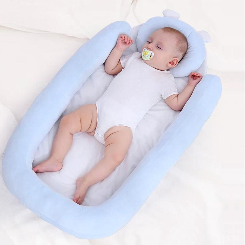 Crib Bed Anti-rollover Travel Portable Bed Cradle Soft Baby Nap Mattress  With Head Pillow And Protective Fence Around