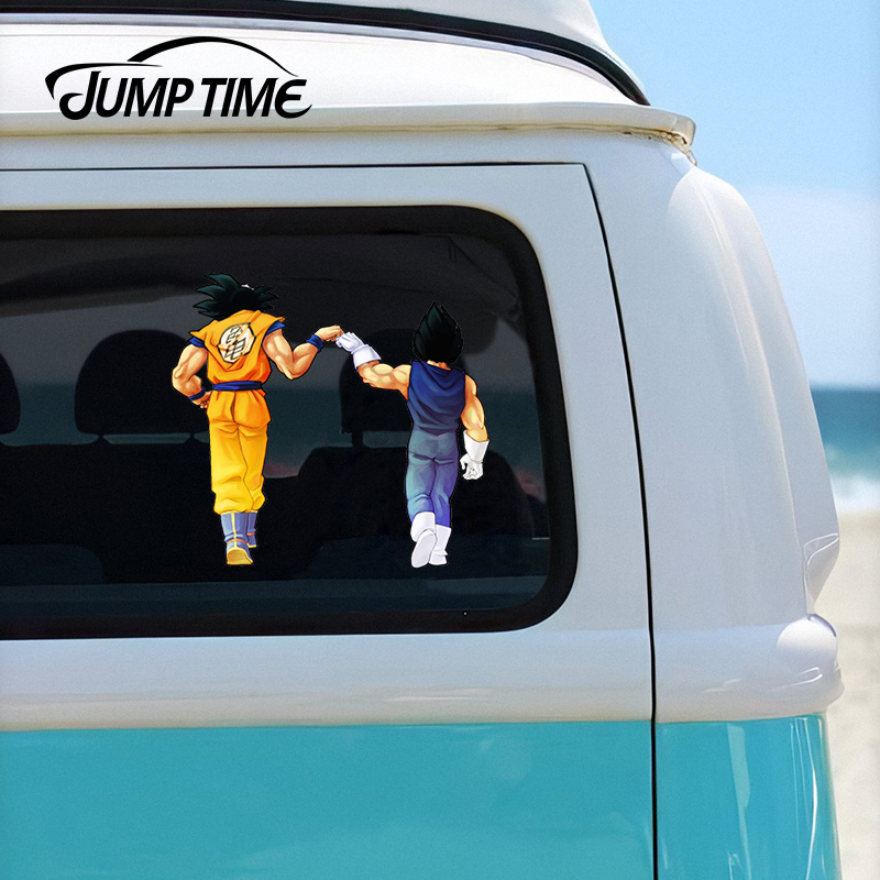 Jump Time 13cm X 12cm Dragon Vegeta & Goku Fist Bump Window Laptop Trunk Decal Cartoon Funny Car Sticker Waterproof Car Styling