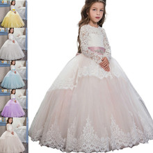 Applique Flower Girl Dress Long Sleeve Little Bridesmaid Kids Pageant First Communion Brithday Party Wedding Occasion F43