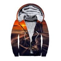 Fashion digital printing padded plus velvet double zipper hooded vests Blouse hoodies