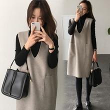 2019 Maternity clothes autumn pregnant women long sleeve dress contrast color pleated hem pregnancy mini cute 2 Pcs