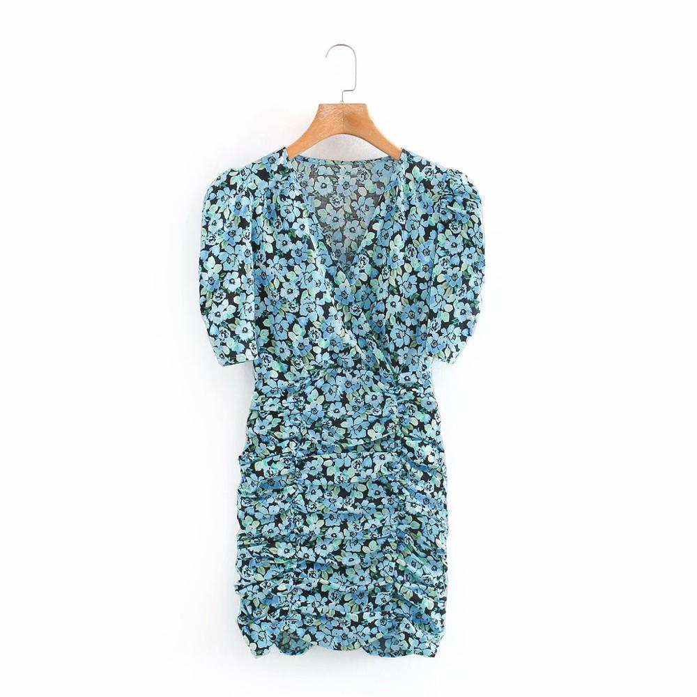 New 2020 Women Vintage V Neck Flower Print Pleated Mini Dress Chic Female Puff Sleeve Retro Vestidos Casual Slim Dresses DS3834