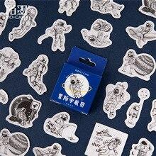 45Pcs/box Cartoon Astronaut Sticker Paper Scrapbooking Creative DIY Bullet Journal Decorative Adhesive Seal Stationery Supplies