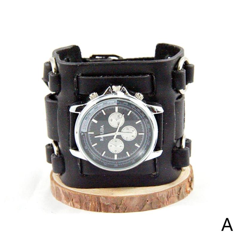 Leather Hand Strap Rock Style Men Leather Punk Watch Three-breasted Round Dial Luxury Quartz Sports Wristwatch Gift For Couple