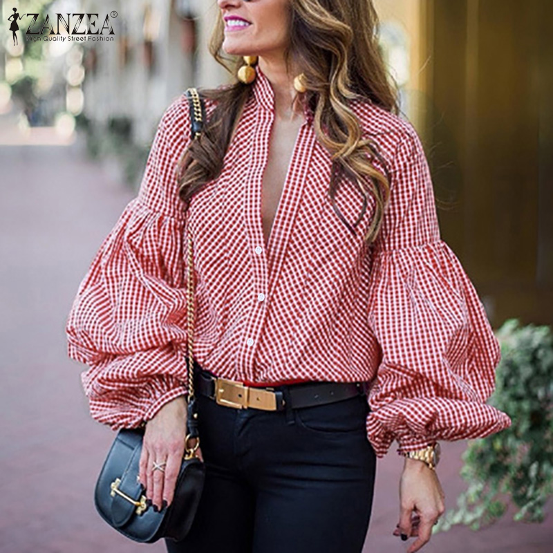 ZANZEA Plus Size Women Tops Blouses Elegant Female Lantern Sleeve Shirts 2020 Buttons Down Tunic Ladies Casual Work Blusas 5XL 7