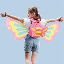 NOHOO Cartoon Kids Bag Neoprene Mini Backpacks Kindergarten Schoolbag for Girls 3D Butterfly Angel Wings Daypack Backpack