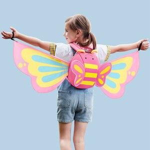 Image 1 - NOHOO karikatür çocuk çantası neopren Mini sırt çantaları anaokulu Schoolbag kızlar için 3D kelebek melek kanatları sırt çantası sırt çantası