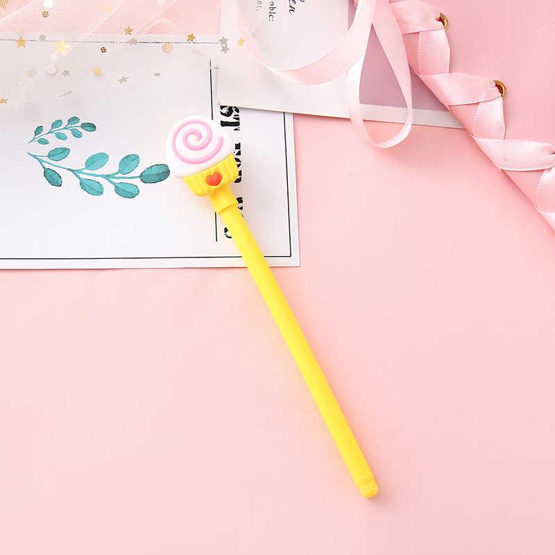 1 sztuka długopisy żelowe Lytwtw koreański Cartoon kreatywny piękne jedzenie pióro neutralne Student pisania artykuły biurowe czarny długopis signature