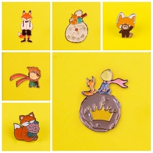 Prince Figure Badges for Clothes Badges on Backpack Cute Fox Badge Enamel Pins for Backpacks Brooches Clothes Lapel Pin Jewelry the little prince brooches for women don t be a boring adult le petit prince b 612 planet fox rose fairy tale hard enamel pin