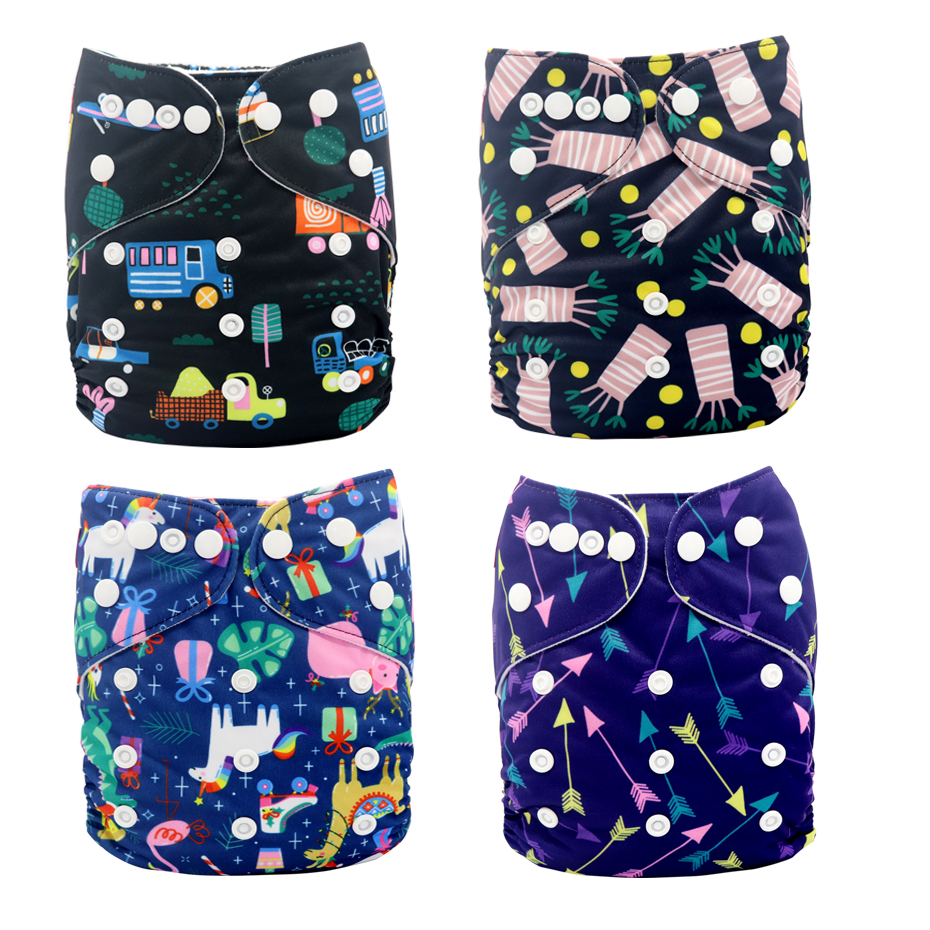 MABOJ Cloth Diapers Baby 4pcs Washable Reusable One Size Pocket Cloth Diaper Waterproof Baby Nappy Eco Nappies Fit 0-2years Baby