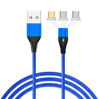 Three In One Magnetic Charger Micro Usb Cable For Xiaomi Android Type c Charging Cable For Apple|Mobile Phone Cables| |  -