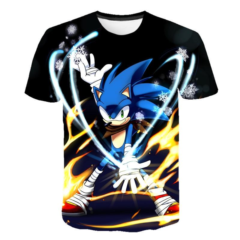 PINSHUN  Summer Fashion Cartoon Kids T Shirt 3D Print Anime Sonic The Hedgehog T Shirt Kids Boy Girl Short Sleeve Pullover Tops