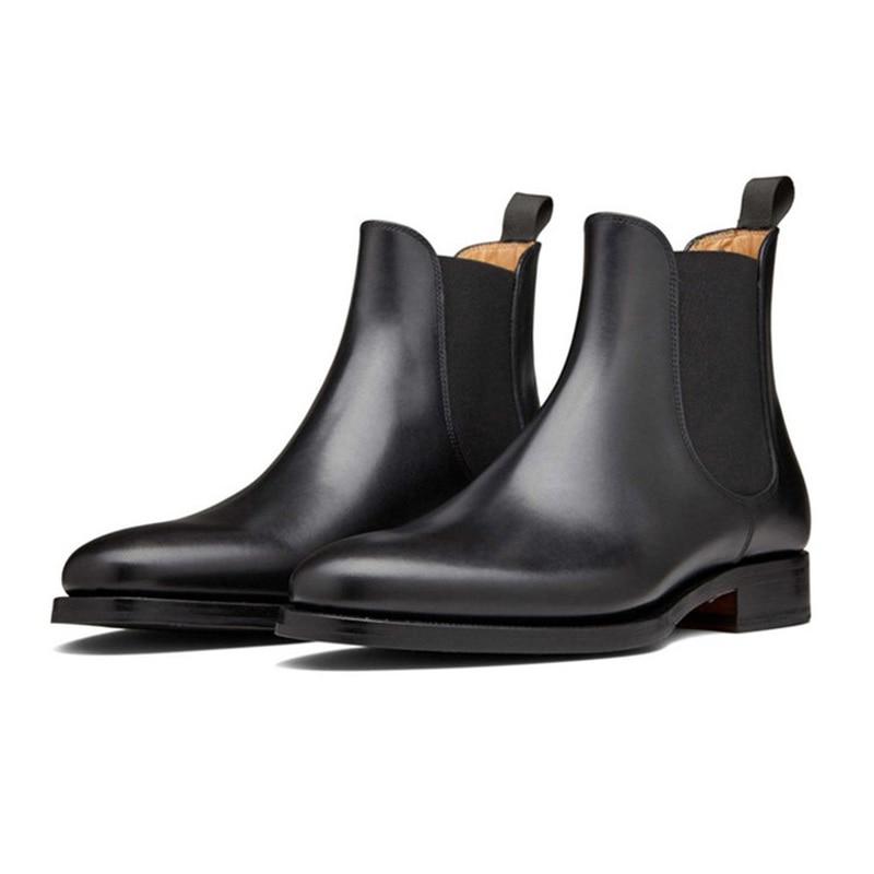 Mens Boots Fashion Winter Black Genuine Leather Chelsea Ankle Raining Men Shoes