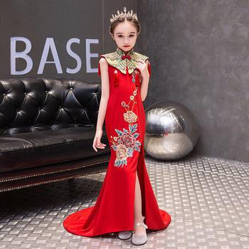 Czerwona syrenka chińskie suknie wieczorowe długa dziewczyna Qipao Party dzieci ogon księżniczka haftowany cheongsam modny frędzel szal tanie i dobre opinie Aizaicn Pościel Oxford chinese new year dress kids evening dress Anhui Small children (3~8 years girl Autumn Enzyme washing
