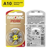 RAYOVAC PEAK 60 x Hearing Aid Batteries A10 10A ZA10 10 S10 60 PCS Hearing Aid Batteries Zinc Air 10 A10 cheap 5 8x3 6mm 1 4v 105mAh