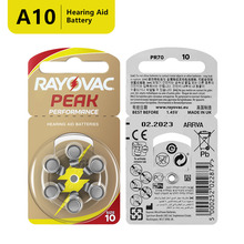 RAYOVAC PEAK 60 x Hearing Aid Batteries A10 10A ZA10 10 S10, 60 PCS Hearing Aid Batteries Zinc Air 10/A10