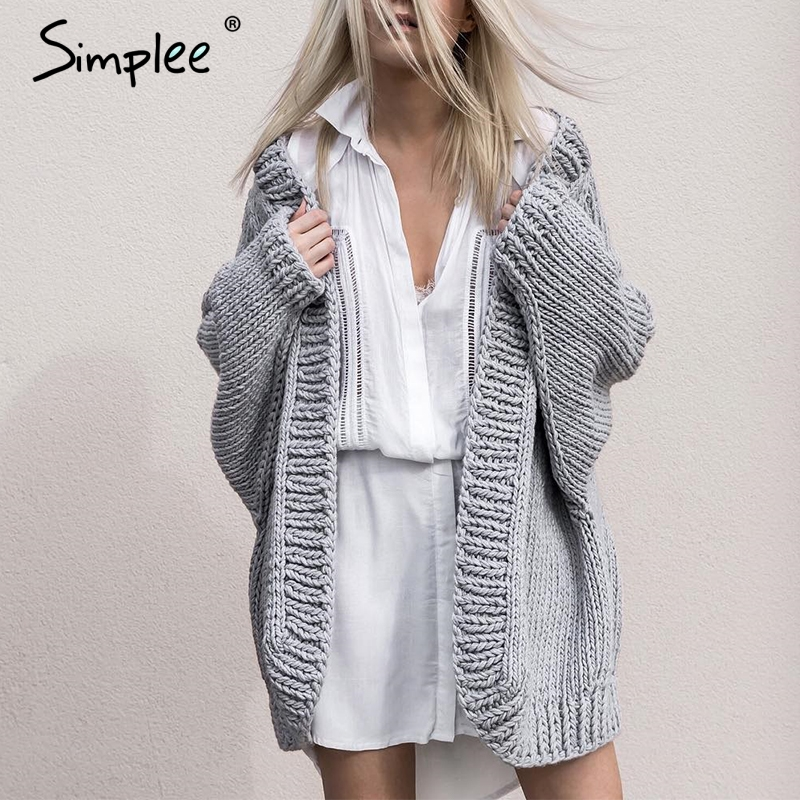 Simplee Autumn Winter Knitting Long Cardigan Female Soft Loose Sweater Women Cardigan Coat Causal Warm Sweater Jumper Outerwear