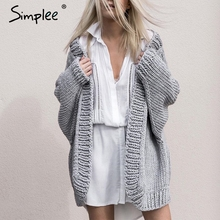 Loose Sweater Long-Cardigan Simplee Knitting Coat Outerwear Jumper Winter Autumn Soft