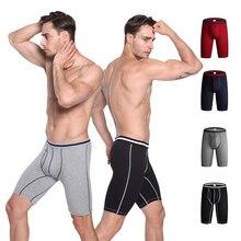 4 Pack Men's Long Leg Boxer Underwear Cotton Man Underpants Male Boxershorts Breathable Fly Open Front Pouch Panties Norcotton