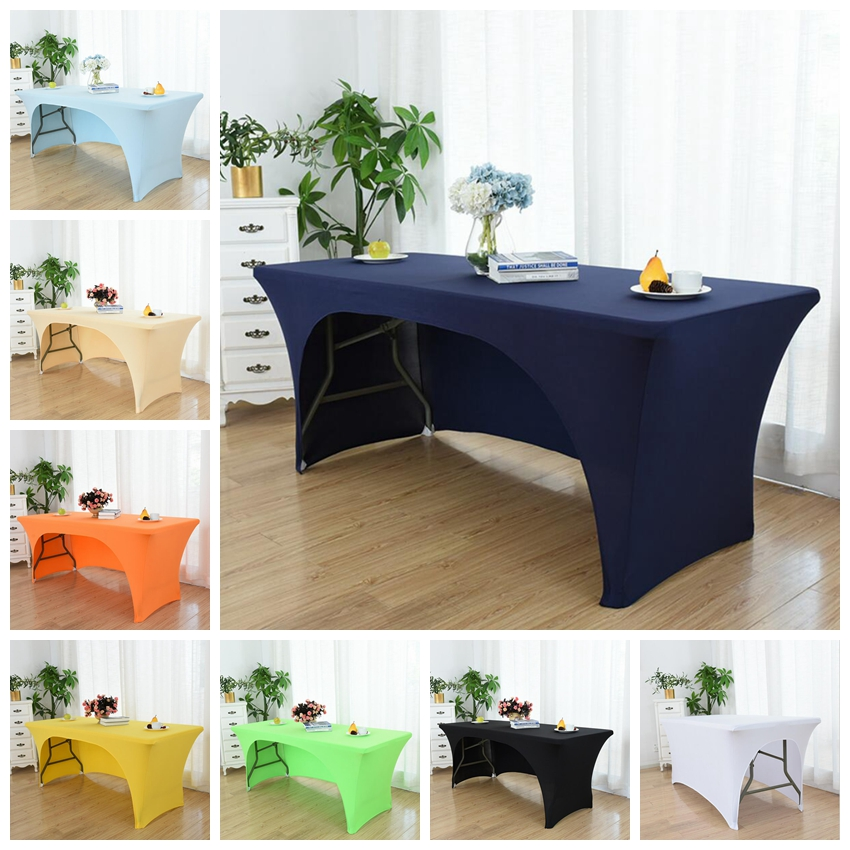 Wedding Spandex Table Cloth Table Cover Rectangular Lycra Table Linen One Side Open Hotel Banquet Party Name Table Cloth