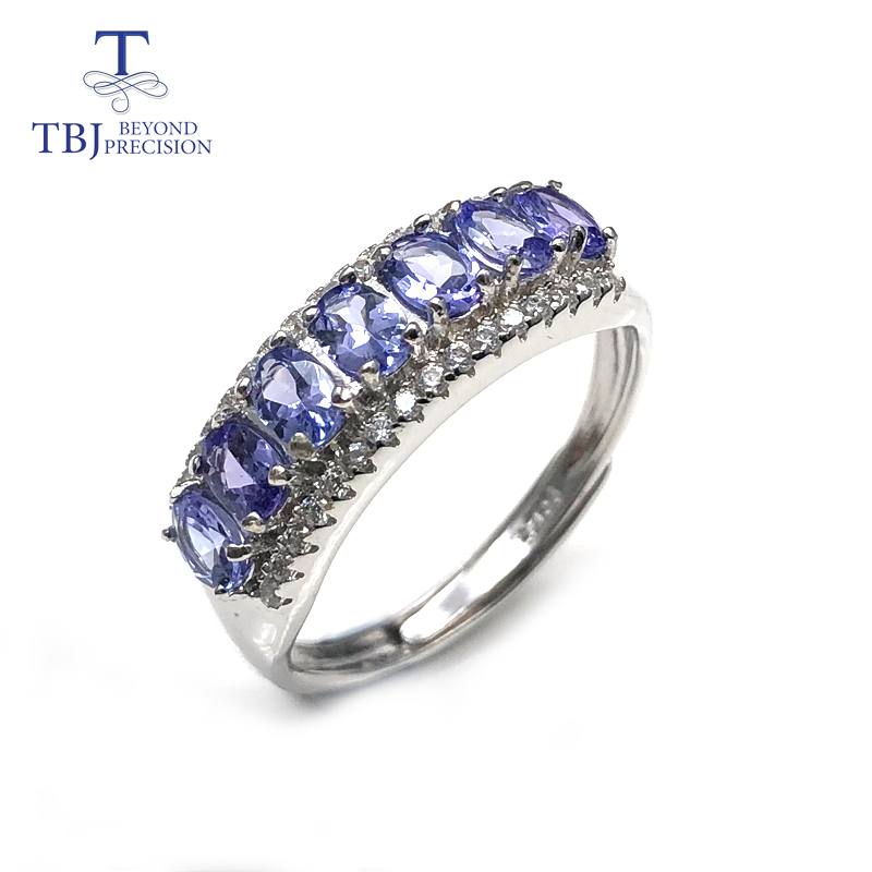 Tanzanite Rings Natural Gemstone With 925 Sterling Silver Simple Style Romantic Small Ring Fine Jewelry For Women Daily Wear